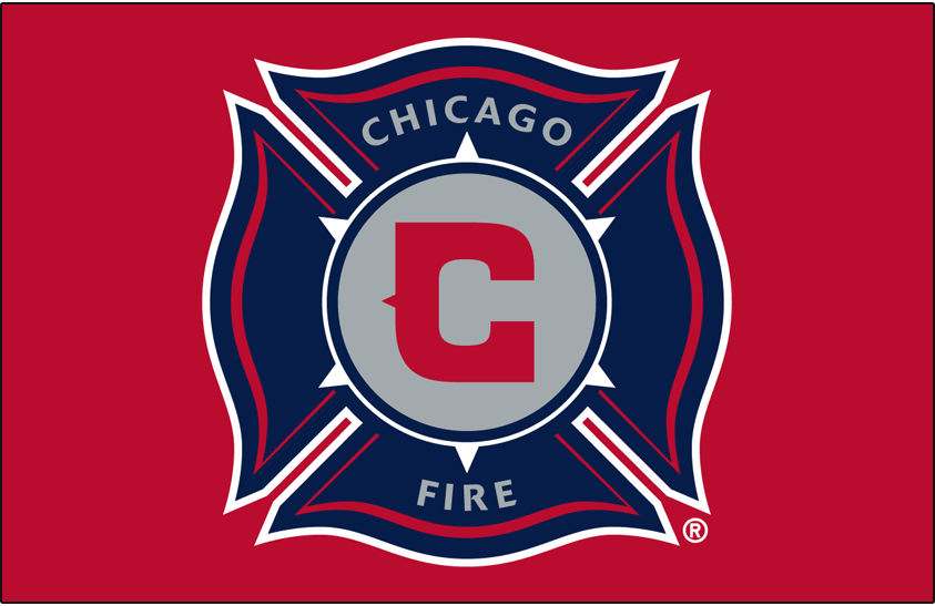 Chicago Fire Logo Primary Dark Logo (1998-2014) - Chicago Fire primary logo on red SportsLogos.Net