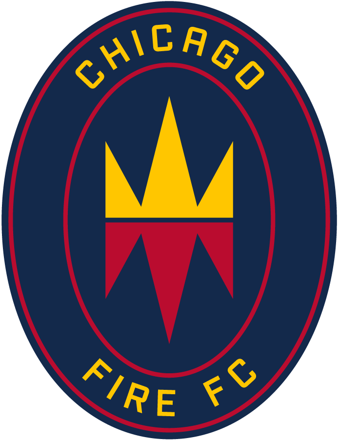 Chicago Fire Logo Primary Logo (2020-Pres) - A crown and flames within a navy blue oval, team name surrounding it SportsLogos.Net