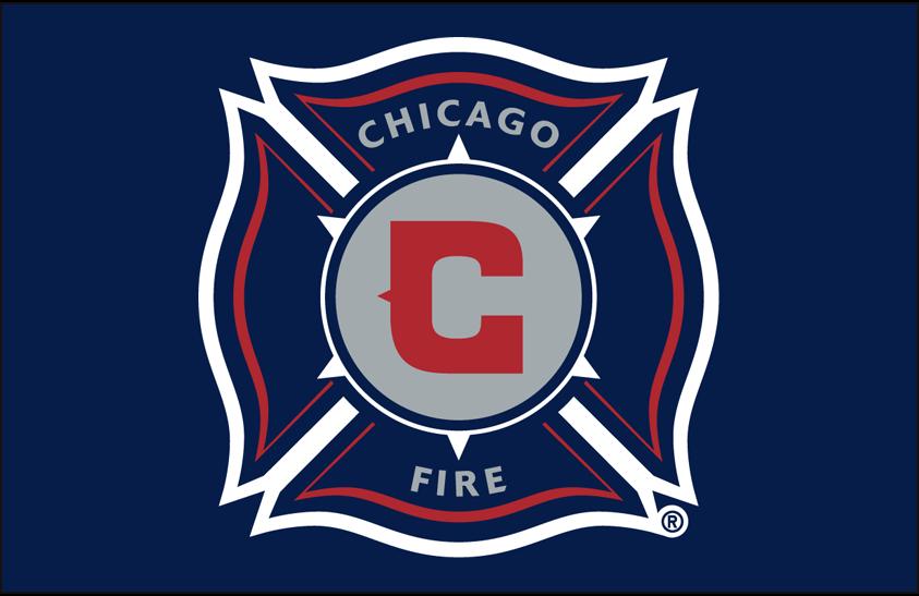 Chicago Fire Logo Primary Dark Logo (2015-2019) - Chicago Fire primary logo on blue SportsLogos.Net