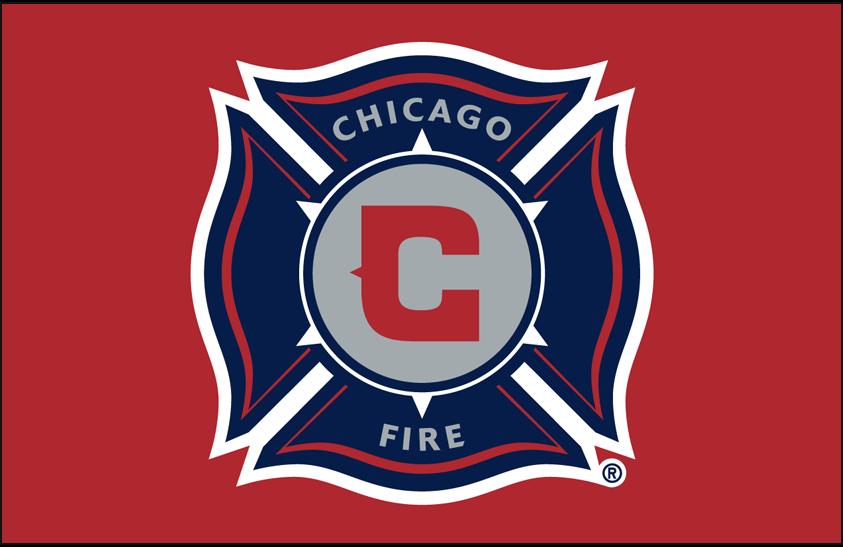 Chicago Fire Logo Primary Dark Logo (2015-2019) - Chicago Fire primary logo on red SportsLogos.Net
