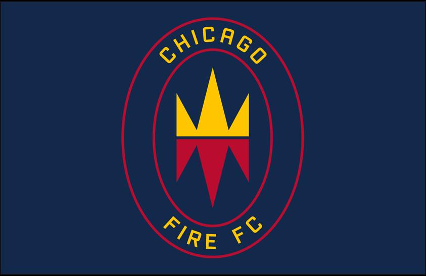 Chicago Fire Logo Primary Dark Logo (2020-Pres) - Chicago Fire FC primary logo on blue SportsLogos.Net
