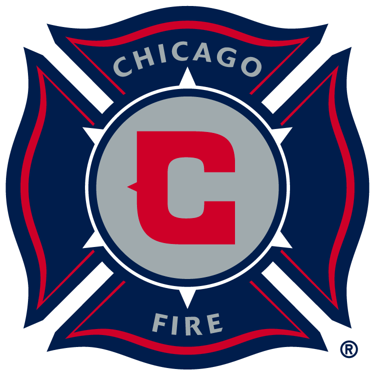 Chicago Fire Logo Primary Logo (1998-2014) - Red C inside silver circle in a navy blue fire department shield SportsLogos.Net
