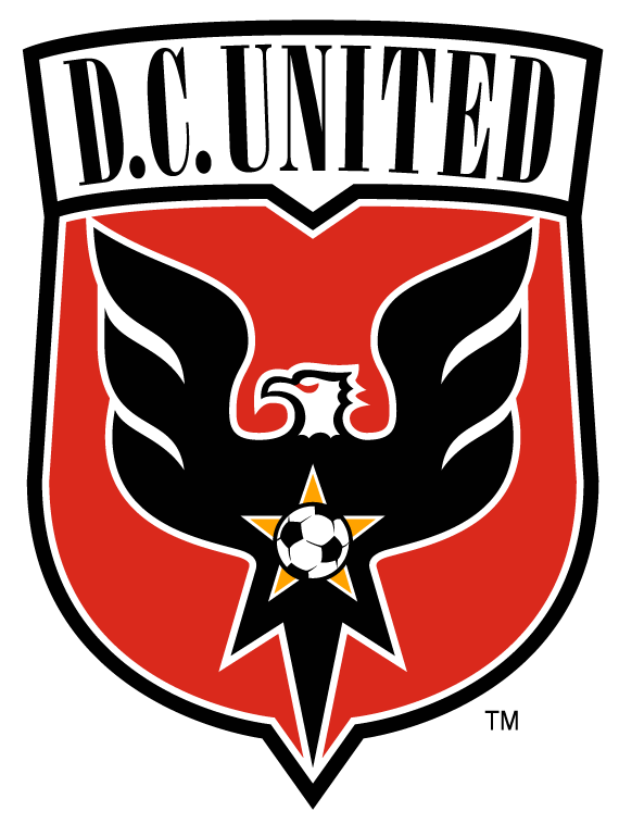 D.C. United Logo Primary Logo (2014-2015) - A black eagle inside a red shield, an orange star with a soccer ball on its chest. Shade of red altered in 2014 SportsLogos.Net
