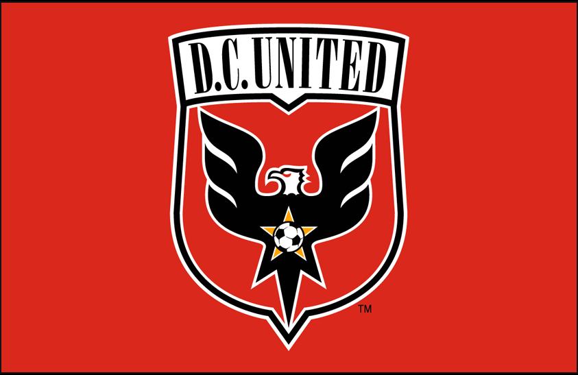 D.C. United Logo Primary Dark Logo (2014-2015) - DC United primary logo on red SportsLogos.Net