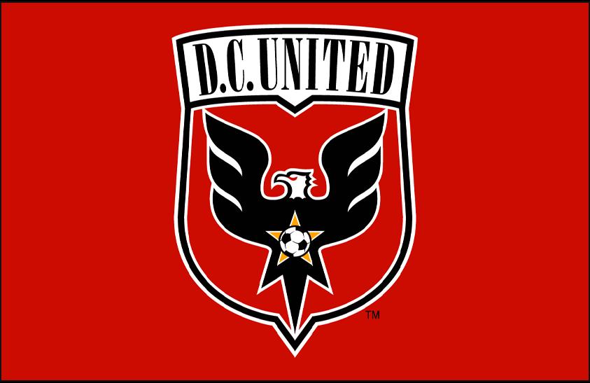 D.C. United Logo Primary Dark Logo (1998-2013) - DC United primary logo on red SportsLogos.Net