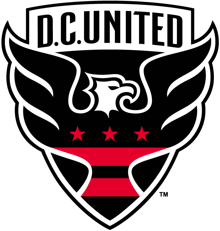 D.C. United Logo Primary Logo (2016-Pres) - A black and white eagle inside a red shield with the District of Columbia flag on it, team name arched above SportsLogos.Net