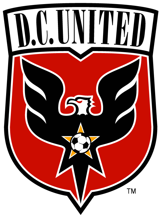 D.C. United Logo Primary Logo (1998-2013) - Black eagle with wings spread out on a red shield with script SportsLogos.Net