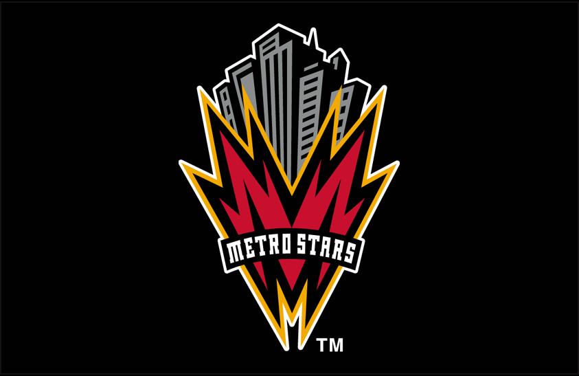 MetroStars  Logo Primary Dark Logo (1998-2001) - MetroStars primary logo on black SportsLogos.Net