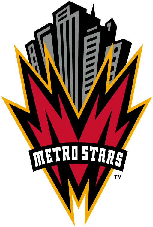 MetroStars  Logo Primary Logo (1998-2001) - A red, black, and orange M with silver and black buildings above it, team name across on black  SportsLogos.Net