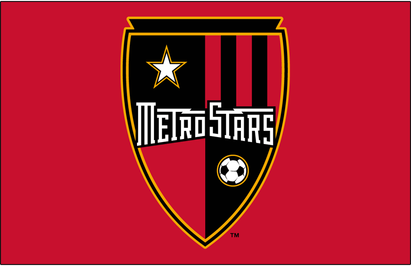MetroStars  Logo Primary Dark Logo (2002-2005) - MetroStars primary logo on red SportsLogos.Net