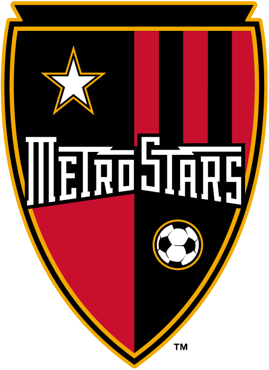MetroStars  Logo Primary Logo (2002-2005) - MetroStars script in red and black shield with star and ball icon SportsLogos.Net