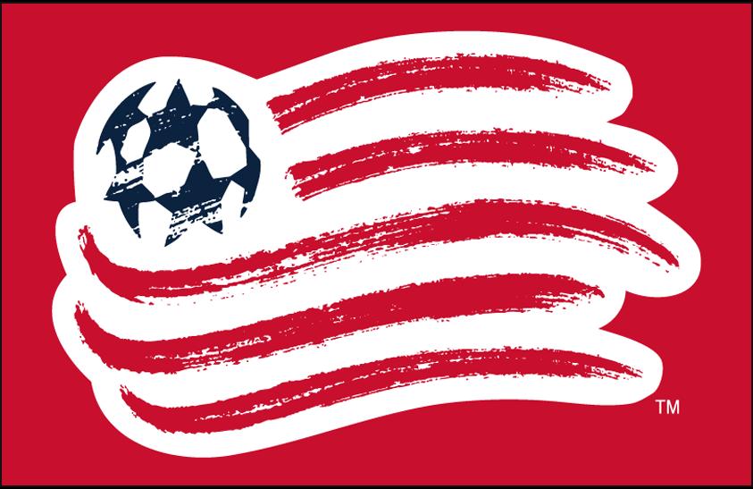 New England Revolution Logo Primary Dark Logo (2009-Pres) - New England Revolution primary logo on red SportsLogos.Net