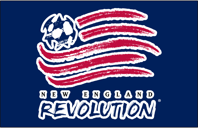 New England Revolution Logo Primary Dark Logo (1996-1999) - New England Revolution primary logo on blue SportsLogos.Net