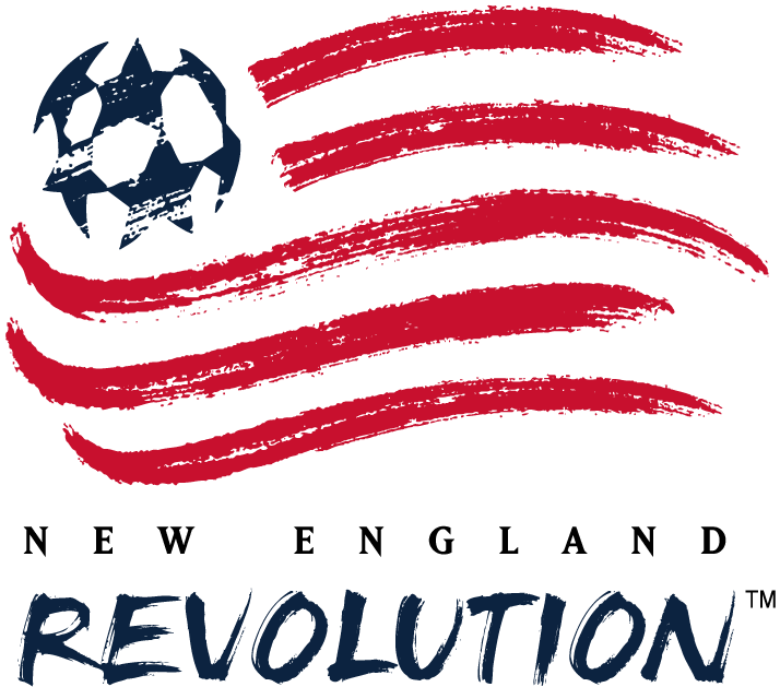 New England Revolution Logo Primary Logo (2000-2008) - American flag with blue soccer ball stars done with a paintbrush, team name below. Blue darkened for 2000 season SportsLogos.Net