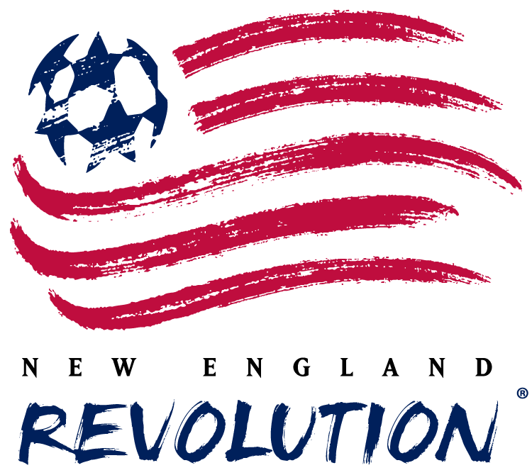 New England Revolution Logo Primary Logo (1996-1999) - American flag with blue soccer ball stars done with a paintbrush, team name below SportsLogos.Net