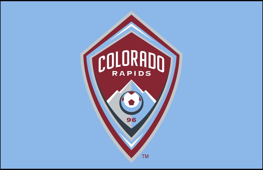 Colorado Rapids Logo Primary Dark Logo (2007-Pres) - Colorado Rapids logo on light blue SportsLogos.Net