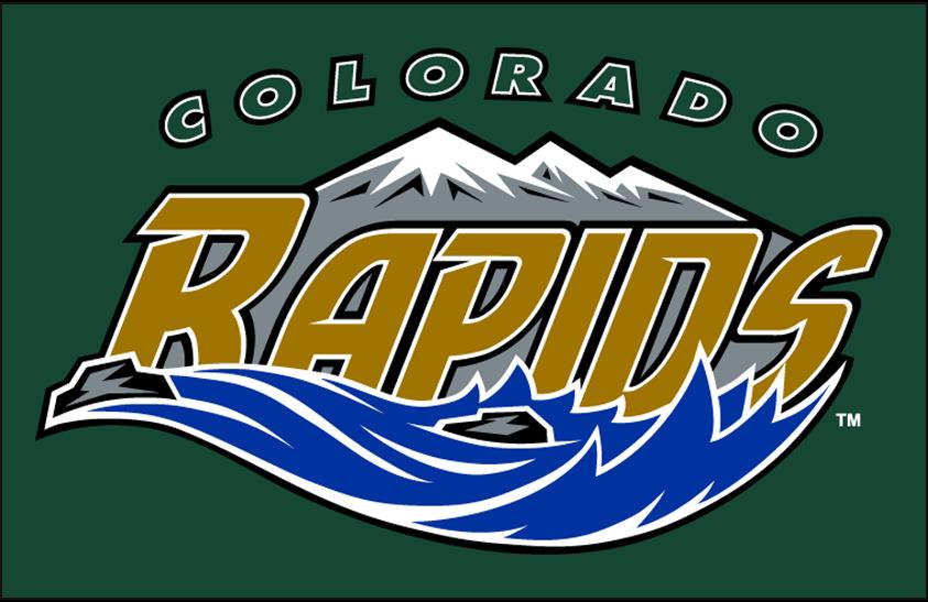 Colorado Rapids Logo Primary Dark Logo (2000-2006) - Colorado Rapids logo on green SportsLogos.Net