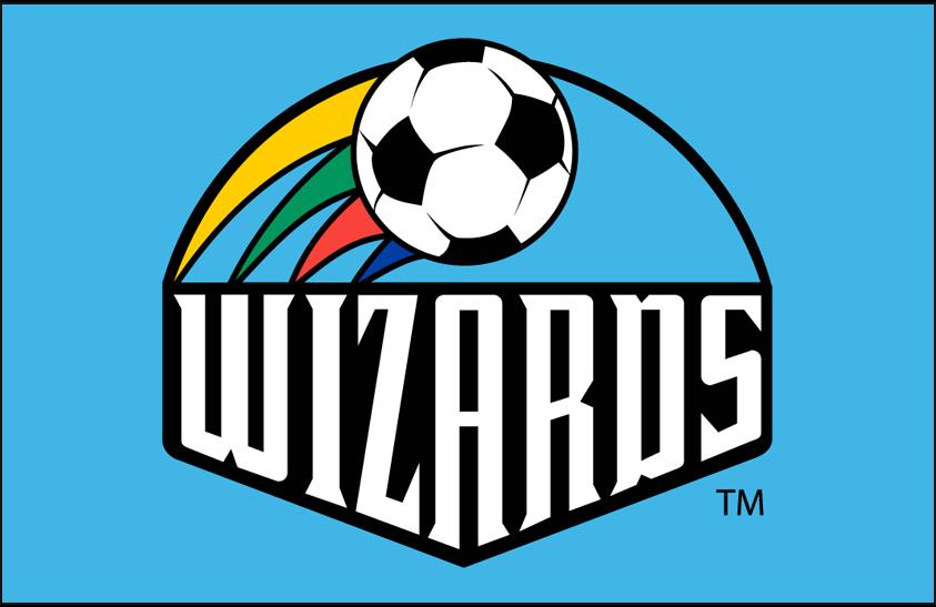 Kansas City Wizards Logo Primary Dark Logo (1997-1999) - Kansas City Wizards primary logo on blue SportsLogos.Net