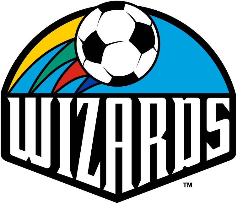 Kansas City Wizards Logo Primary Logo (2000-2006) - Soccer ball with rainbow streamers with Wizards below in shield, shade of blue altered for 2000 season SportsLogos.Net