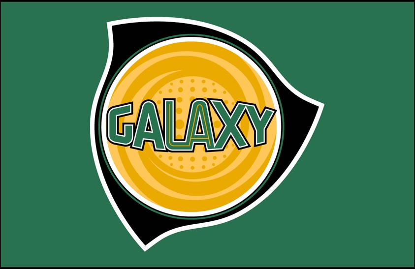 LA Galaxy Logo Primary Dark Logo (2004-2007) - Los Angeles Galaxy primary logo on green SportsLogos.Net