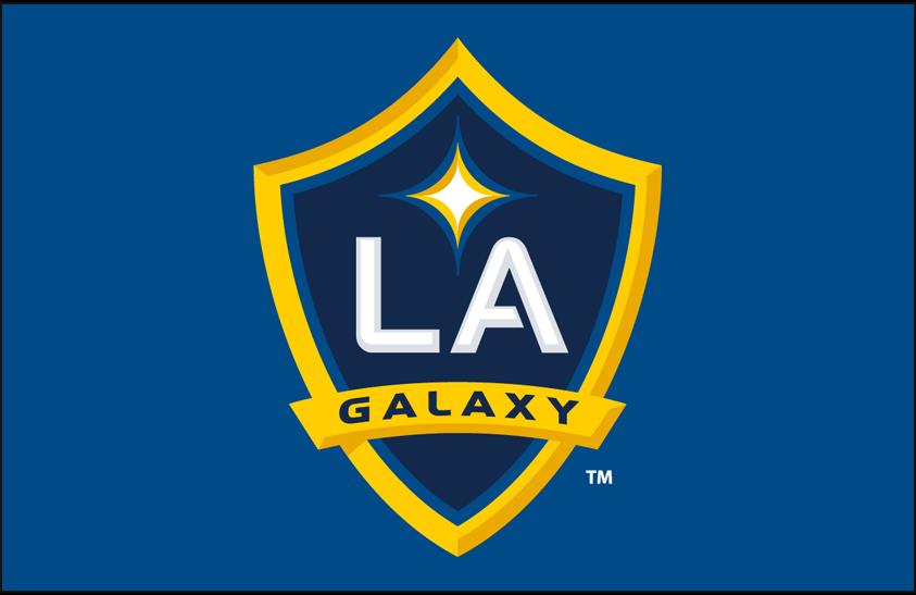 LA Galaxy Logo Primary Dark Logo (2008-Pres) - Los Angeles Galaxy primary logo on light blue SportsLogos.Net