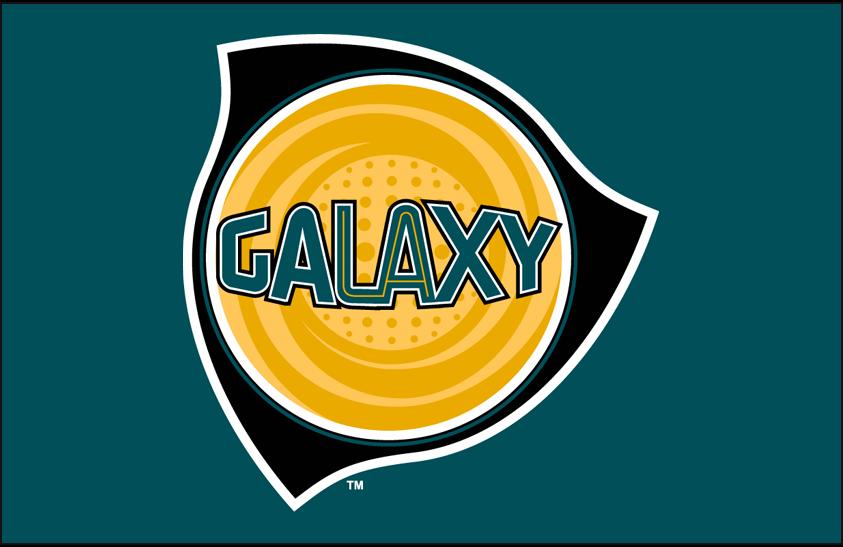 LA Galaxy Logo Primary Dark Logo (1996-2003) - Los Angeles Galaxy primary logo on teal SportsLogos.Net