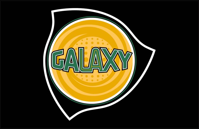 LA Galaxy Logo Primary Dark Logo (2004-2007) - Los Angeles Galaxy primary logo on black SportsLogos.Net