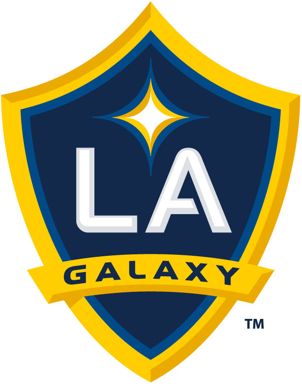 LA Galaxy Logo Primary Logo (2008-Pres) - A blue and yellow shield with LA in white and Galaxy below on a ribbon, a white and yellow star above SportsLogos.Net