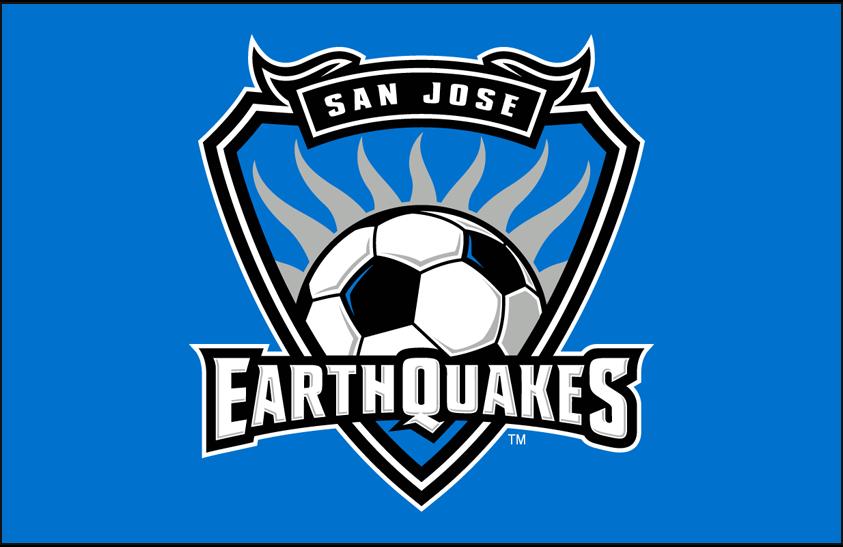 San Jose Earthquakes Logo Primary Dark Logo (2008-2013) - San Jose Earthquakes primary logo on blue SportsLogos.Net