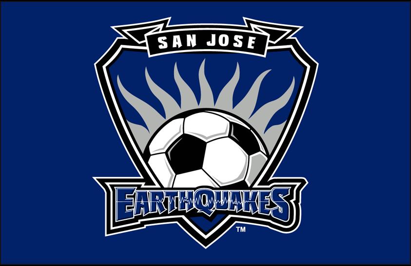 San Jose Earthquakes Logo Primary Dark Logo (2000-2005) - San Jose Earthquakes primary logo on blue SportsLogos.Net