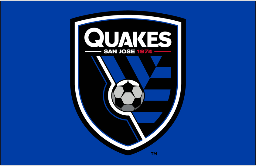 San Jose Earthquakes Logo Primary Dark Logo (2014-Pres) - San Jose Earthquakes primary logo on blue SportsLogos.Net