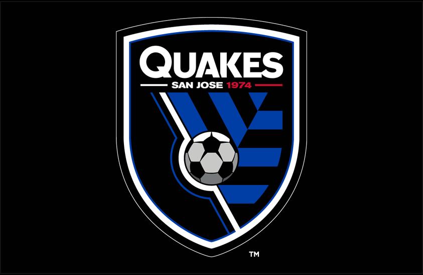San Jose Earthquakes Logo Primary Dark Logo (2014-Pres) - San Jose Earthquakes primary logo on black SportsLogos.Net