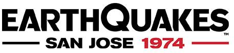 San Jose Earthquakes Logo Wordmark Logo (2014-Pres) - EarthQuakes in black with San Jose 1974 below in black and red SportsLogos.Net