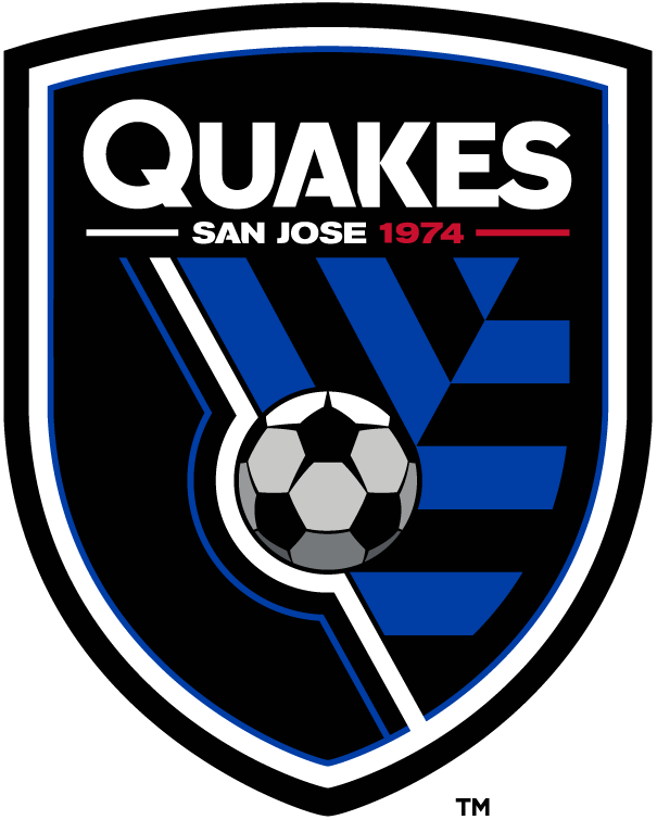 San Jose Earthquakes Logo Primary Logo (2014-Pres) - A black shield with blue and white borders, with shortened team nickname in white above city name and establishment year. A soccer ball is shown in between a blue and black pattern -- this pattern represents the shifting tectonic plates during an earthquake SportsLogos.Net