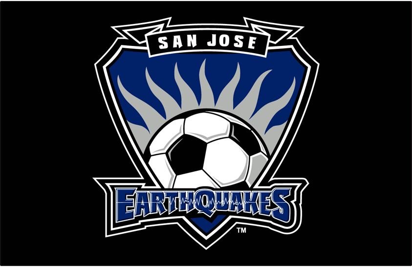 San Jose Earthquakes Logo Primary Dark Logo (2000-2005) - San Jose Earthquakes primary logo on black SportsLogos.Net