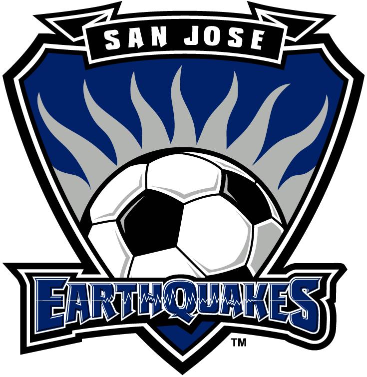 San Jose Earthquakes Logo Primary Logo (2000-2005) - Silver Silicon Valley soccer sun inside blue shield SportsLogos.Net