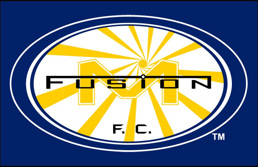 Miami Fusion F.C. Logo Primary Dark Logo (1998-2001) - Miami Fusion FC primary logo on blue SportsLogos.Net