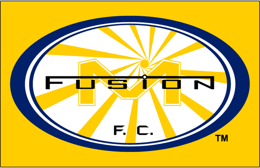 Miami Fusion F.C. Logo Primary Dark Logo (1998-2001) - Miami Fusion FC primary logo on yellow SportsLogos.Net