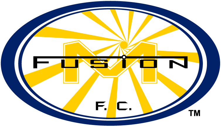 Miami Fusion F.C. Logo Primary Logo (1998-2001) - Yellow sunshine with yellow M inside blue oval with script SportsLogos.Net