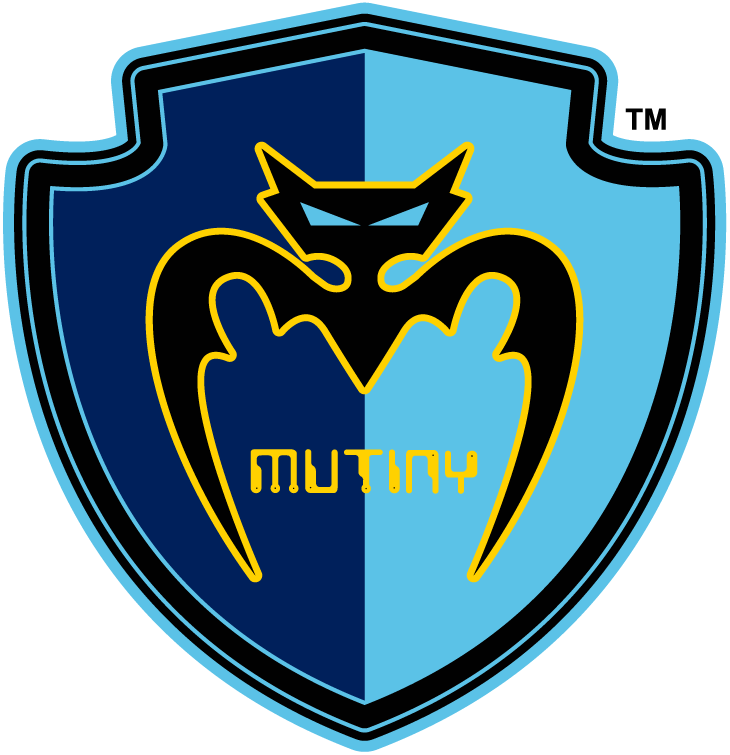 Tampa Bay Mutiny Logo Primary Logo (2000-2001) - A black bat trimmed in gold inside a double-blue shield with team name in gold, shade of light blue altered for 2000 season SportsLogos.Net