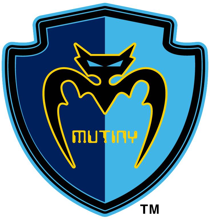 Tampa Bay Mutiny Logo Primary Logo (1996-1999) - Black bat with team name inside light blue & navy blue shield SportsLogos.Net