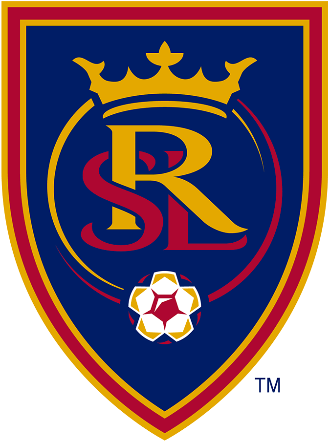 Real Salt Lake Logo Primary Logo (2010-Pres) - RSL in yellow and red under a crown with a soccer ball inside a blue shield outlined in red and gold SportsLogos.Net