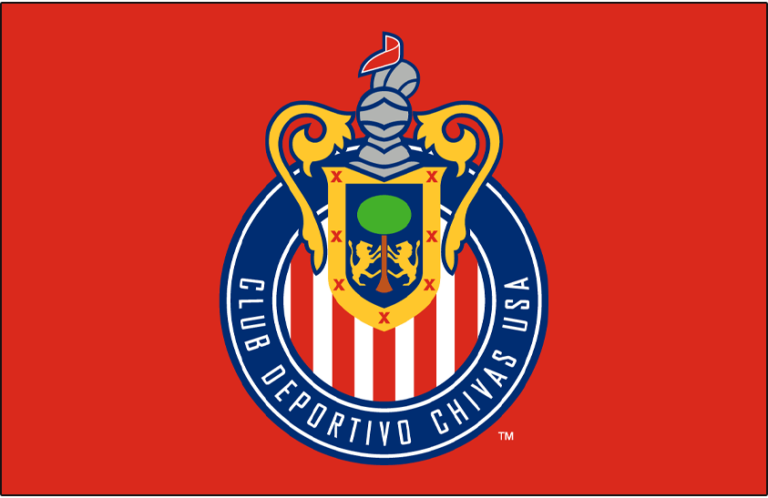 Chivas  USA Logo Primary Dark Logo (2005) - Chivas USA primary logo on red SportsLogos.Net