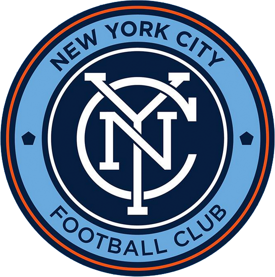 New York City  FC Logo Primary Logo (2015-Pres) - Interlocking NYC design in white on a blue circle with a powder blue circle and orange outlines surrounding. Team name written in powder blue outer circle. Two pentagons (representing the five boroughs of New York City) on either side SportsLogos.Net