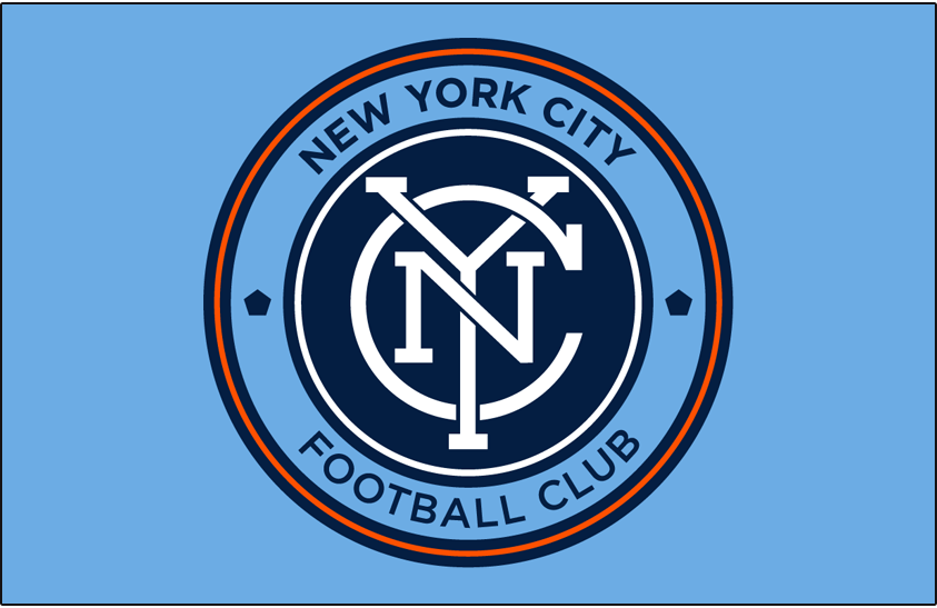 New York City FC Logo Primary Dark Logo (2015-Pres) - NYCFC primary logo on light blue SportsLogos.Net