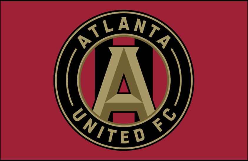Atlanta United FC Logo Primary Dark Logo (2017-Pres) - Atlanta United FC primary logo on red SportsLogos.Net