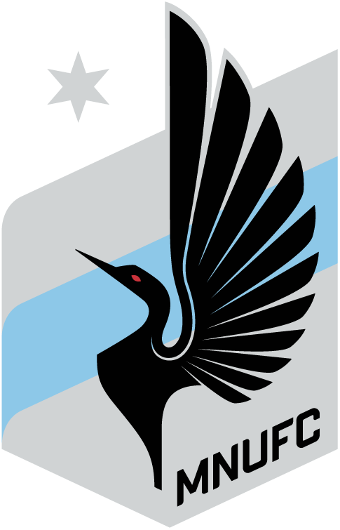 Minnesota  United FC Logo Primary Logo (2017-Pres) - A black loon flapping its wings on a blue and silver shield with a star above SportsLogos.Net