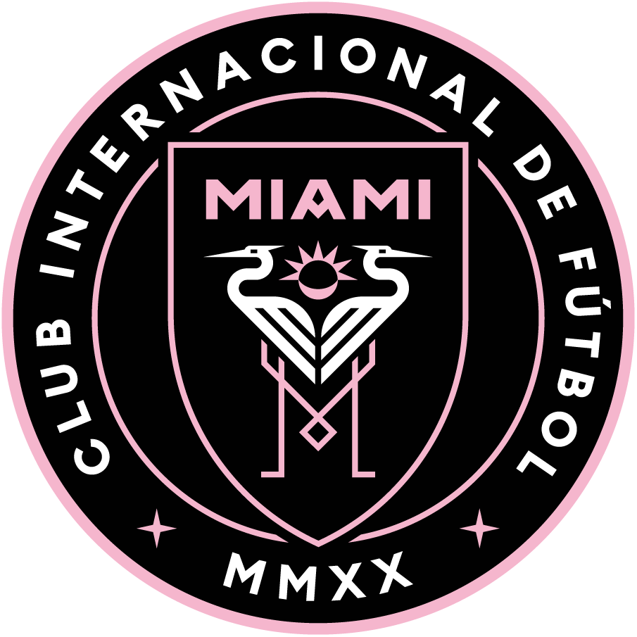 Inter Miami C.F. Logo Primary Logo (2020-Pres) - Two great white herons on a black and pink shield, legs of the herons forming the letter M in pink, a solar eclipse between the two birds. SportsLogos.Net