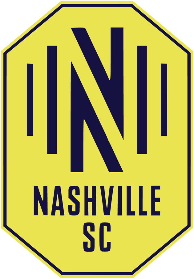 Nashville SC  Logo Primary Logo (2020-Pres) - Sound waves on either side of an N inside a yellow and blue shield SportsLogos.Net