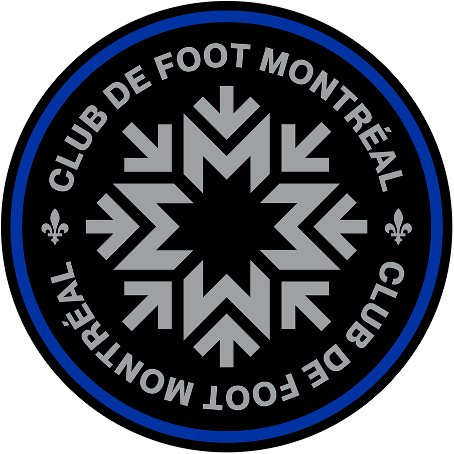 Club de Foot Montreal Logo Primary Logo (2021-Pres) - CF Montreal, formerly the Montreal Impact, unveiled their new name and logo on January 14, 2021. The logo showed a silver snowflake made up of a series of Ms and arrows, the arrows representing the Metro system. The logo is outlined in blue to symbolise the island of Montreal. SportsLogos.Net